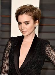 Pretty Mess Vanity Lily Collins Shows Off Short Hair At Vanity Fair Oscars Party