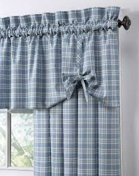 Blue Burlap Curtains Country Curtains Country Plaid Cotton Casual Curtain Panel