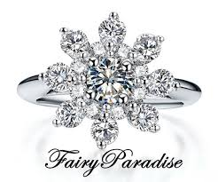 snowflake engagement ring snowflake ring with 0 5 ct made diamond center