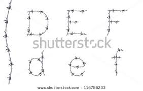 alphabet barbed wire font letters b stock vector 116786218
