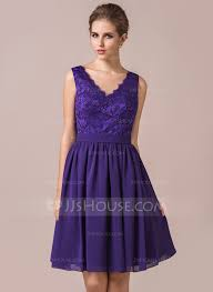 purple lace bridesmaid dress a line princess v neck knee length chiffon lace bridesmaid dress