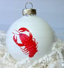 christmas ornament maine lobster on glass snowball ornament