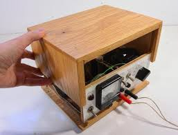 wood of home made benchtop power supply