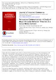persuasive communication a study of major attitude behavior