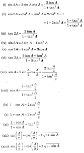 cbse class 11 maths notes trigonometric ratios and identities