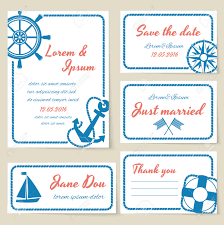 nautical themed wedding invitation and greeting cards with rope