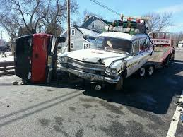 ecto 1 for sale ghostbusters ecto 1 clone hit while being towed the drive