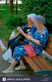 Bench Ladies Two Old Ladies Knitting On A Park Bench In The Parc Des Arenes