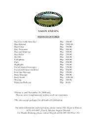 jcpenney hair salon price list nail salon price list template choice image templates design ideas