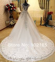 luxury wedding dresses high quality diamonds wedding dress 2017 cap sleeve