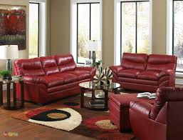 Red Living Room Set Casual Contemporary Red Bonded Leather Sofa - Red leather living room set