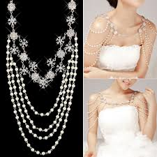 chain necklace dress images Wedding bridal crystal rhinestone pearl shoulder body chain jpg