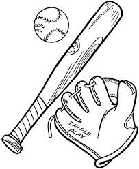 baseball glove ball bat colouring happy colouring