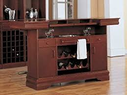 amazon com coaster traditional cherry finish bar unit w wine rack