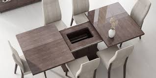 espresso finish modern round dining table w optional chairs abcds