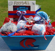 football baby shower deluxe baby boy gift basket ready to ship