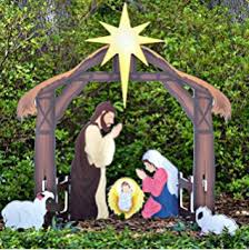 lighted outdoor nativity nativity holy family with lights garden outdoor