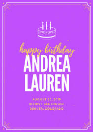yellow and violet cake illustration happy birthday poster
