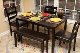 contemporary dining room set with bench espresso wooden frame side