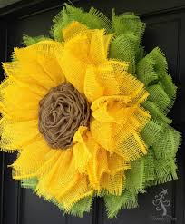 burlap sunflower wreath sunflower wreath with ribbon center tutorial sunflower
