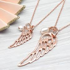 gold wings necklace images Rose or yellow gold angel wing and pearl necklace by hurleyburley jpg