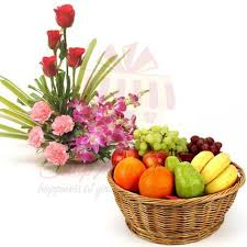 fruit and flower basket send more gifts imported flower basket with fruits gift to pakistan