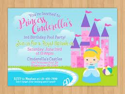 princess cinderella pool party birthday invitation