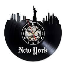 decorative vinyl record newyork city unique wall clock