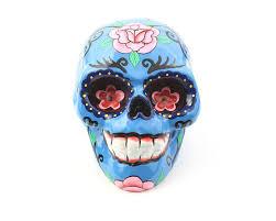 sugar skulls home decor blue sugar skull decor hand painted skull mexican sugar skull