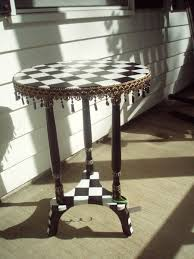 Outdoor Checker Table Made From Buy A Crafted Painted Black And White Checked Accent