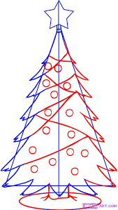 draw a simple christmas tree step by step drawing sheets added