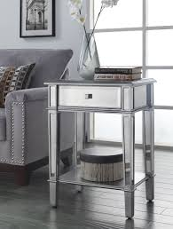 Living Room Accent Tables Painted Silver Color Small Mirrored Accent Table With Drawer And