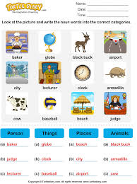 sort nouns as person place animal or thing worksheet turtle diary