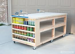 Plans For Making A Wooden Workbench by How To Build A Diy Mobile Workbench With Shelves