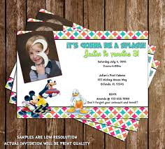 Mickey Mouse Invitation Card Novel Concept Designs Disney Mickey Mouse Pool Party Invitation