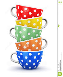 stack of color polka dot coffee cups stock illustration image