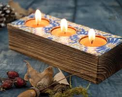 Home Interiors Candle Holders Wooden Candle Holders Rustic Home Decor Pyrography Wood