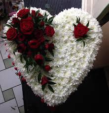 Traditional Funeral Flower - traditional heart red rose www butterfliesandblooms net