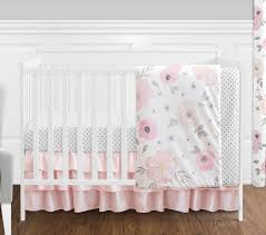 shabby chic bedding for girls jojo bumperless shabby chic pink watercolor flower baby 4p