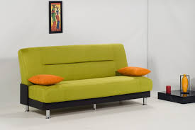 divine compact sleeper sofa features green color covers and orange