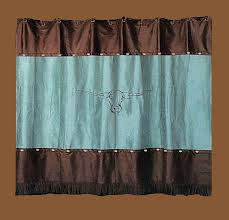 Chocolate Brown Shower Curtain Western Bathroom With Cheyenne Turquoise Shower Curtain And
