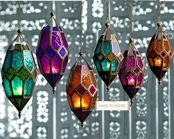 moroccan hanging coloured glass lantern tea light holder home