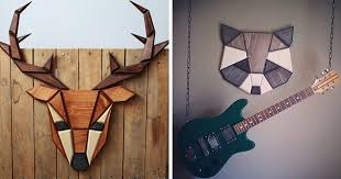 wooden animal wall wooden zoo i make geometric animal heads from wood bored panda