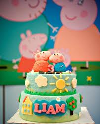 peppa pig birthday cakes liam s 3rd birthday a peppa pig theme party so natty
