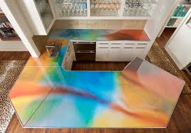 Glass Kitchen Countertops Interesting Design Kitchen With Rainbow Glass Countertop With