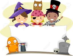 kids halloween clip art banner illustration with a halloween theme stock photo picture