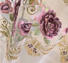 Large Floral Print Curtains Embroidery Floral Living Room Large Print Curtains