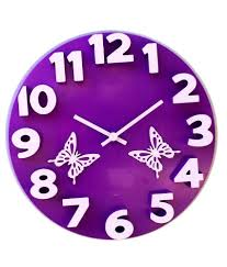 panache purple 3d butterfly wall clock buy panache purple 3d