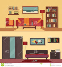 Home Interior Bedroom Vector Flat Illustration Banners Set Abstract For Rooms Of
