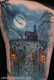 this is a very awesome halloween inspired tattoo sleeve